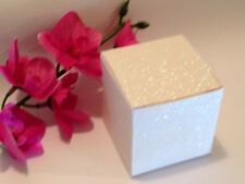 50 White Glitter Favor Boxes Wedding Party Supplies 2X2X2 Box