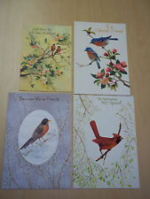 4 Vintage Hallmark Birthday Cards - Bird Theme - Mint