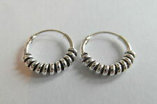 Pair Of Sterling Silver ( 925 ) Bali Barbed  Hoop Earrings 10  mm  !!     New !!