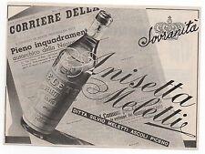 Pubblicità epoca 1949 ANISETTA MELETTI LIQUOR ASCOLI advert werbung publicitè