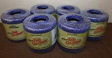 Lot 6 Skeins J&P Coats Knit-Cro-Sheen Yarn Crochet Thread Blue/Silver Metallic