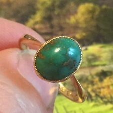 Antique 22ct gold turquoise matrix ring full hallmark ?1898 queens head size M-N