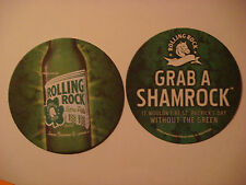 2004 BEER Coaster    ROLLING ROCK Extra Pale ~ Grab a SHAMROCK ~ St Patricks Day