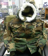 US GI NOMEX CAMO COLD WEATHER AIRCREW FIELD JACKET, LINER, HOOD MEDIUM SHORT NEW