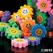 48 Mini Smile Happy Face Daisy Flower Erasers Birthday Party Favors Treats Gifts
