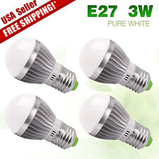 4X E27 3W Energy Saving LED Light Lamp Cool White 110V Globe Ball Lamp Bulbs