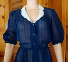 REDUCED by $15!St. Gillian by Kay Unger Sheer Navy Silk Women's Size 8/10 Dress