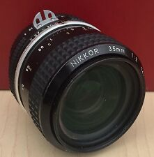 VINTAGE NIKON NIKKOR 35mm 1:2 F2 FILM & DIGITAL SLR CAMERA LENS & CAPS * WORKS *