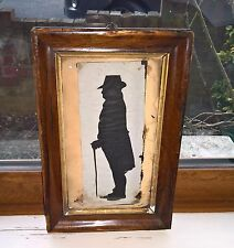 ANTIQUE EARLY 19TH CENTURY SILHOUETTE OF GENTLEMAN, ORIGINAL WALNUT FRAME
