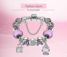STERLING SILVER MINNIE MOUSE & HELLO KITTY CHARM BRACELET DISNEY JEWELRY MICKEY