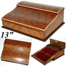 "Gorgeous Antique French Napoleon III Marquetry Inlay 13"" Ecritoire, Writer's Box"