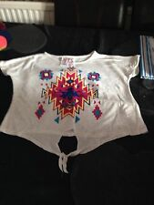 Oatmeal Tie Front Top With Aztec Pattern - 9/10yrs