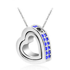 Jewelry Women Double Heart Blue Crystal Charm Pendant Chain Necklace Silver IO22