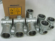Malleable Pipe Fittings Galvanized Reducing Tee 1-1/2 x 3/4 (Lot of 10)