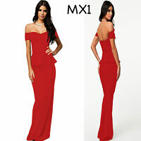 Sz 14 16 Off Shoulder Peplum Red Sexy Formal Cocktail Party Evening Long Dress