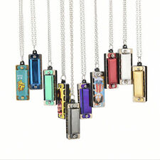 Magnetic Durable Cute Mini Metal Harmonica 4 Hole 8 Tone Necklace Silver HF