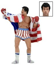 "NECA ROCKY 40TH ANNIVERSARY SERIES 2 ROCKY BALBOA 7"" ACTION FIGURE AMERICAN FLAG"