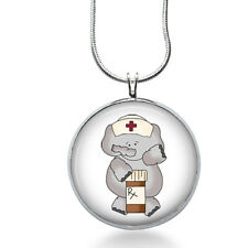 Nurse Elephant Necklace - Nurse Jewelry - Health Care Pendant - Animal