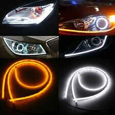 2x 85CM Flexible Car DRL Soft Tube Guide LED Strip Turn Signal Light White Amber