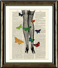 Antique Book page Art Print - Butterfly Legs  Dictionary Page print
