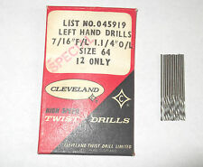 "12 X No64  0.0360"" 0.914mm CLEVELAND JOBBER LENGTH  DRILL LH LEFT HAND CUT"