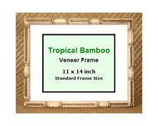 "Tropical Bamboo picture frame ~ 11x14"" ~ New ~ Glass included ~ Made in Hawaii"