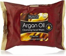 ** 2 X BEAUTY FORMULAS ARGAN OIL CLEANSING FACIAL WIPES NEW ** 30 WIPES