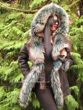 NEW EXCLUSIVE SHEARLING LAMBSKIN COAT JACKET TURQUOISE SILVER FOX FUR HOOD L