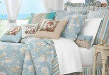 NATURAL SHELL ** King ** QUILT SET : AQUA BLUE TROPICAL BEACH HOUSE COMFORTER