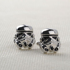 Silver Darth Vader Mask Helmet Dark Lord Sith Star Wars Men's Cufflinks