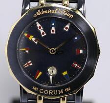 Good!! Auth CORUM Admiral's Cup SS/18K YG Navy Quartz Men's Wrist Watch_273000