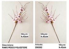 N.6 RAMO STELO PESCO ARTIFICIALE BOMBONIERA con FIORI ROSA TESSUTO H.43 206582