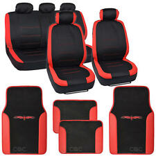 Two Tone Black & Red Accent Stripes Car Seat Covers - Cute Interior Set 13pcs