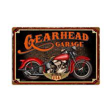 Gearhead Garage Harley Motorrad Biker USA Vintage Retro Sign Blechschild Schild