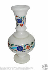 White Marble Flower Vase Pot Rare Inlay Mosaic Pietradure Art Collectible Gifts