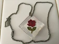 Lucite reverse carved red rose pendant on chain