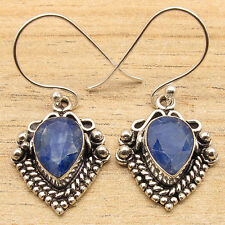 Blue SAPPHIRE Gemstone Sterling Silver Plated Earrings BIRTHDAY PRESENT ETHNIC