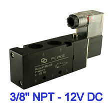 "3/8"" Inch Pneumatic 4 Way Electric Directional Control Solenoid Air Valve 12V DC"