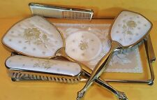 VINTAGE GOLD PETIT POINT EMBROIDERY LACE HAIR BRUSH HAND MIRROR TRAY VANITY SET