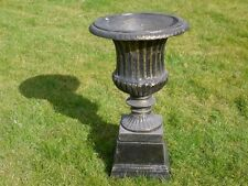 CAST IRON URN PLANTER VASE  WITH BASE SMALL URN BRONZED FINISH VENETIAN LOOK