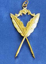 Masonic Collar Jewel Secretary Pens Gold Freemason Mason