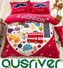 New London Bus Cartoon Kid Double/Queen Size Velvet Bed Quilt/Doona Cover Sets
