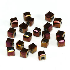 10pcs P-purple 8mm Faceted Square Cube Cut glass crystal Spacer beads.