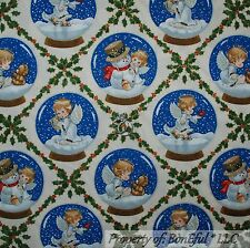 BonEful FABRIC FQ Cotton Quilt Red Angel Cherub Xmas White Snowman Flake Globe