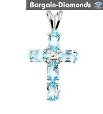 diamond blue topaz Christian cross pendant faith birthstone 925 1.263-carats lov