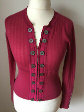 Karen Millen Raspberry Pink Fine Lace Button Cardigan KM 1 UK 8
