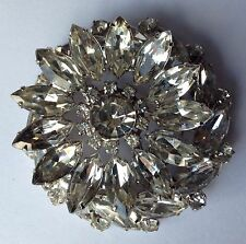 VINTAGE JULIANA CLEAR RHINESTONE FLOWER BROOCH
