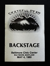 Grateful Dead Backstage Pass Stanley Mouse Art Baltimore Maryland 5/4/1980 MD