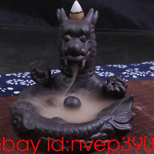 "Ceramic Backflow Incense Holder Burner ""Dragon"" Clay incense burner home decor"