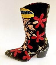 Artemis Cuban Style Black Velvet Floral Embroidered Calf Boots Sz 36 / 6 Turkey